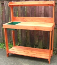 Potting bench with top shelf